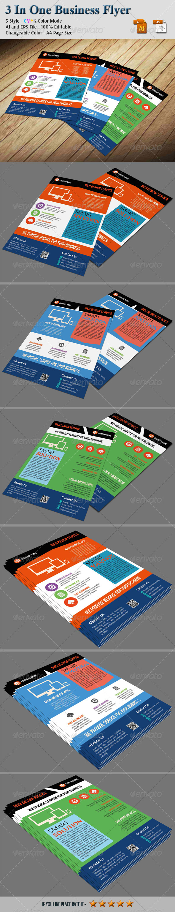 GraphicRiver 3 In One Business Flyer 6855826