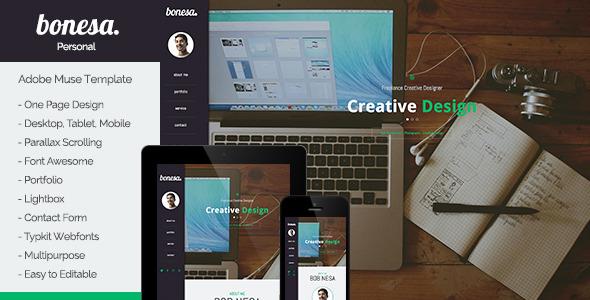 Bonesa - Portfolio One Page Muse Template