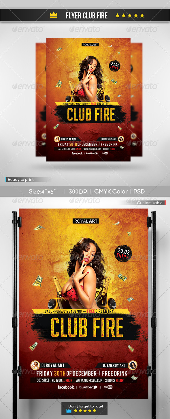 Flyer Fire Club - Clubs & Parties Events