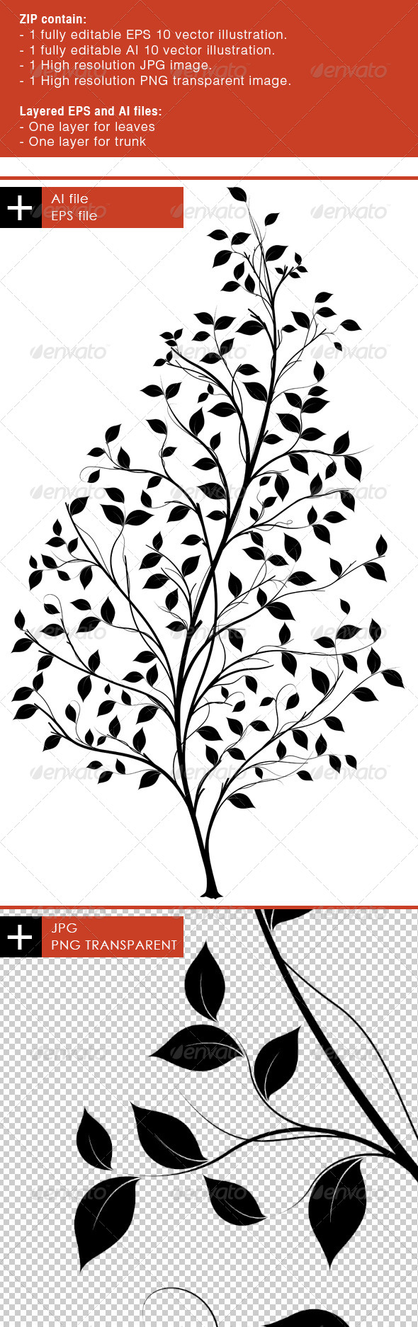 GraphicRiver Vector Tree Silhouette Graphic element 6856878