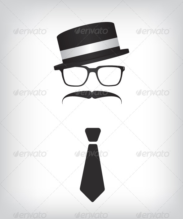 GraphicRiver Hipster with Tie and Glasses 6856911