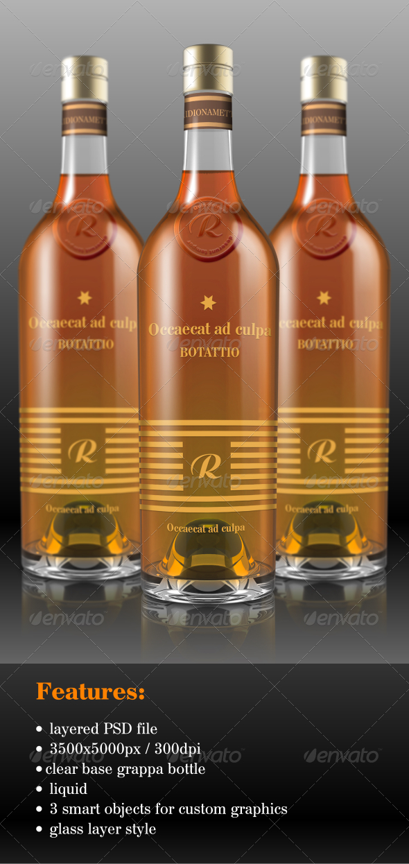 GraphicRiver Grappa Bottle Mock-Up 6850358