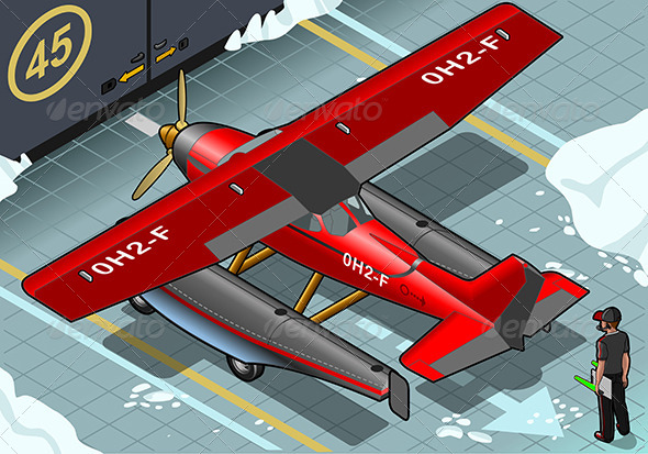 GraphicRiver Isometric Artic Hydroplane Landed in Rear View 6857066