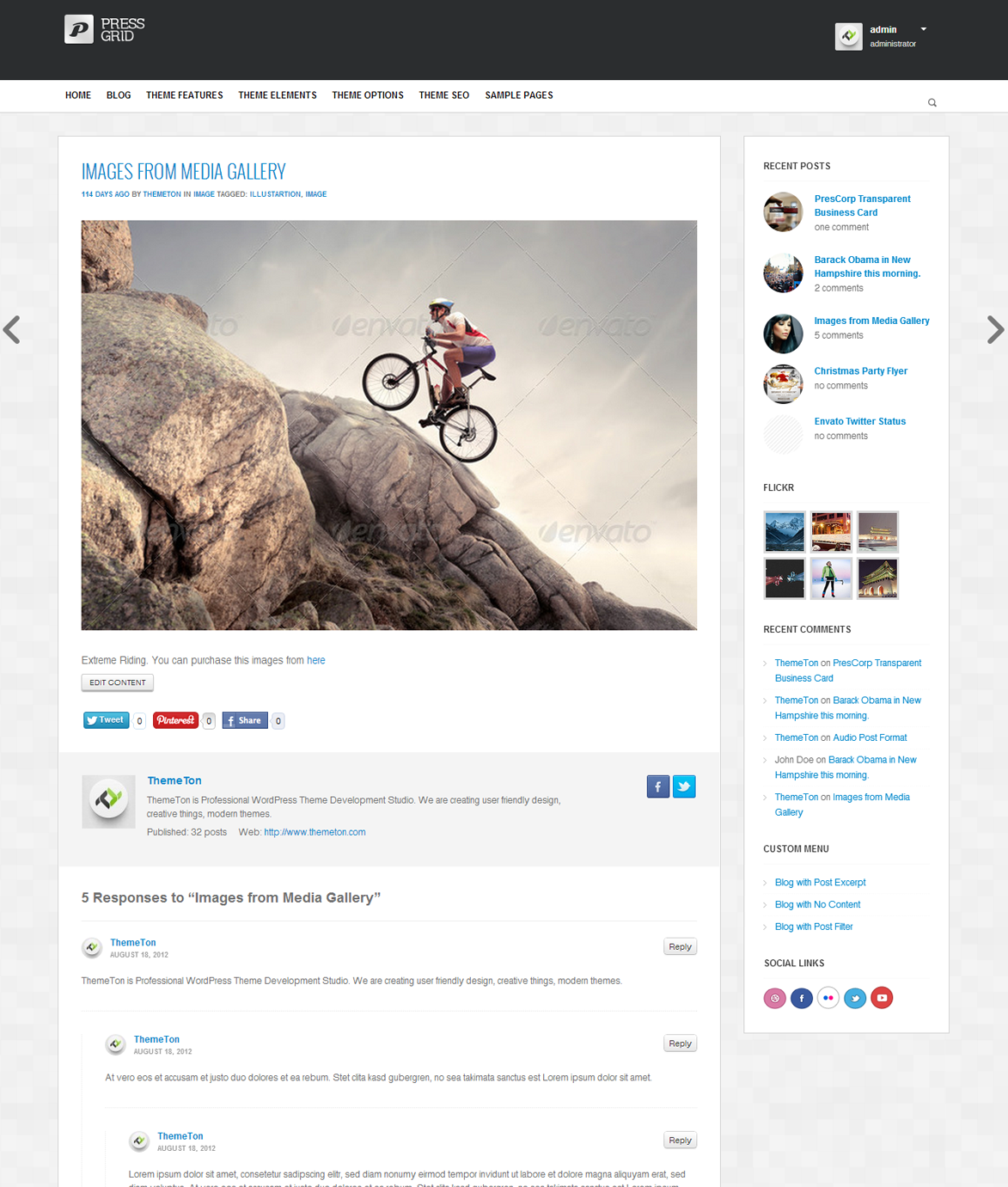 PressGrid - Frontend publishing & Multimedia Theme - Single page