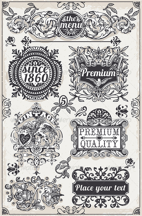 GraphicRiver Vintage Hand Drawn Graphic Banners and Labels 6857111