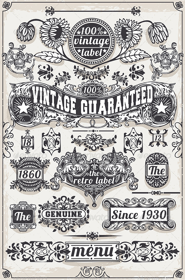 GraphicRiver Vintage Hand Drawn Graphic Banners and Labels 6857114