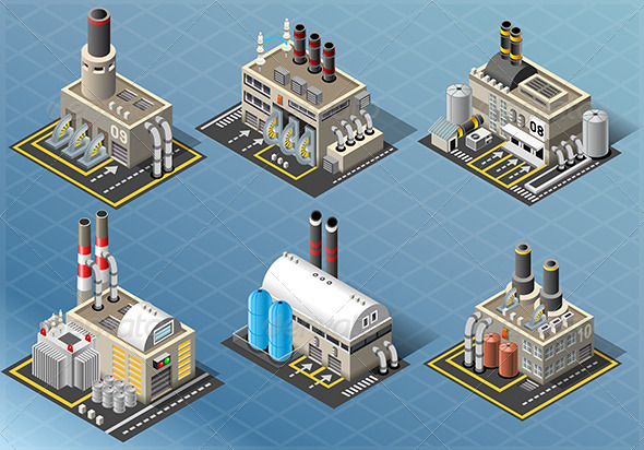GraphicRiver Set of Energy Industries Buildings 6857157