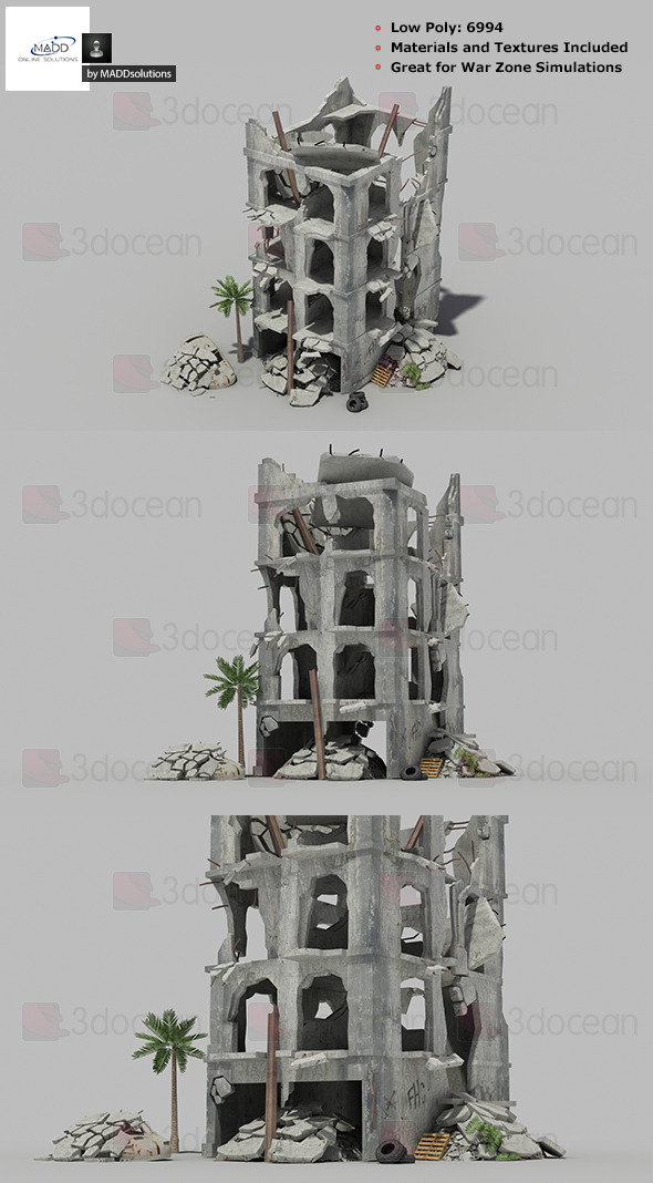 Low Poly Warzone Wrecked Building 1 - 3DOcean Item for Sale