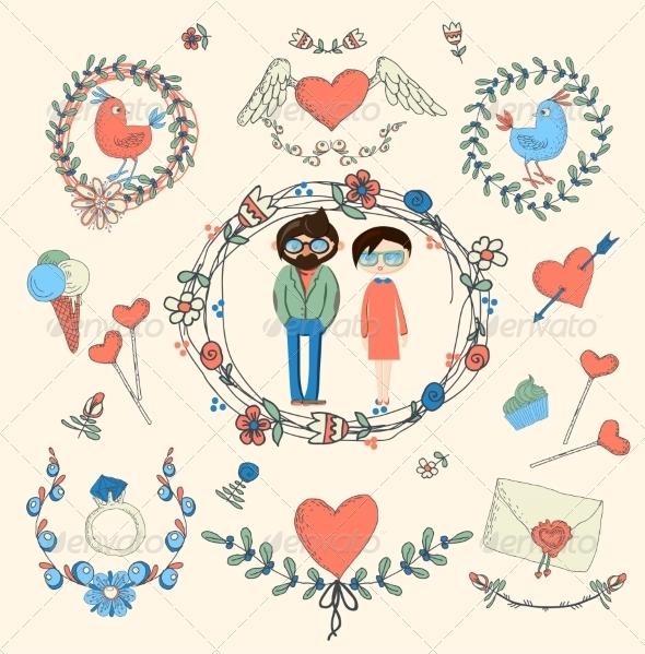 GraphicRiver Love Decorative Elements Set 6857638
