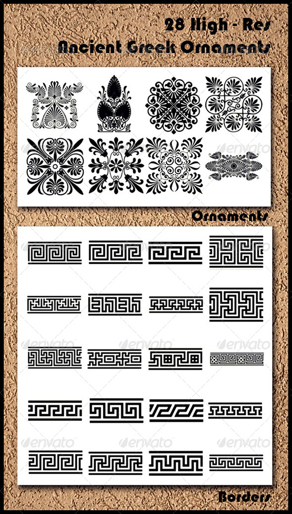 GraphicRiver 28 Ancient Greek Ornaments Brushes 6857667