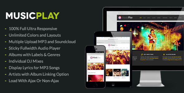 MusicPlay Music & DJ Responsive WordPress Theme