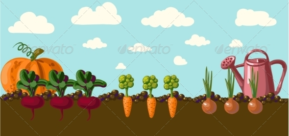 GraphicRiver Vintage Garden Banner with Root Veggies 6857945