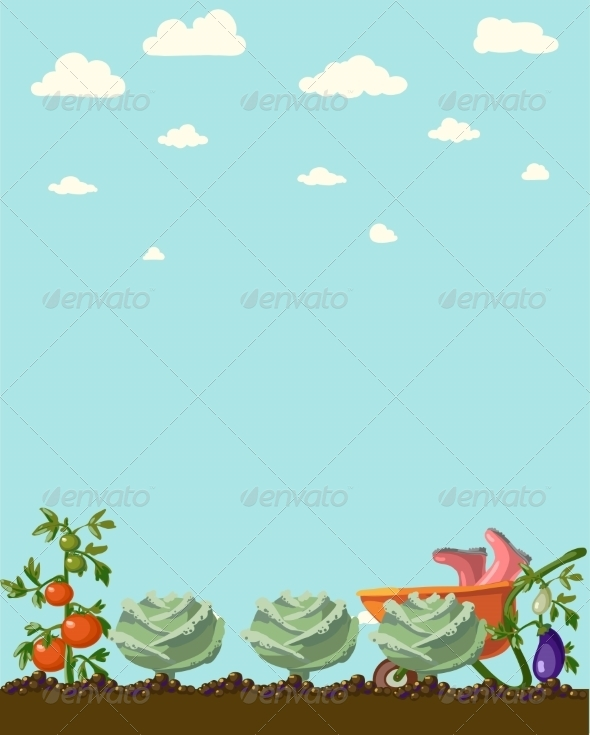 GraphicRiver Vintage Garden Banner with Root Veggies 6857962