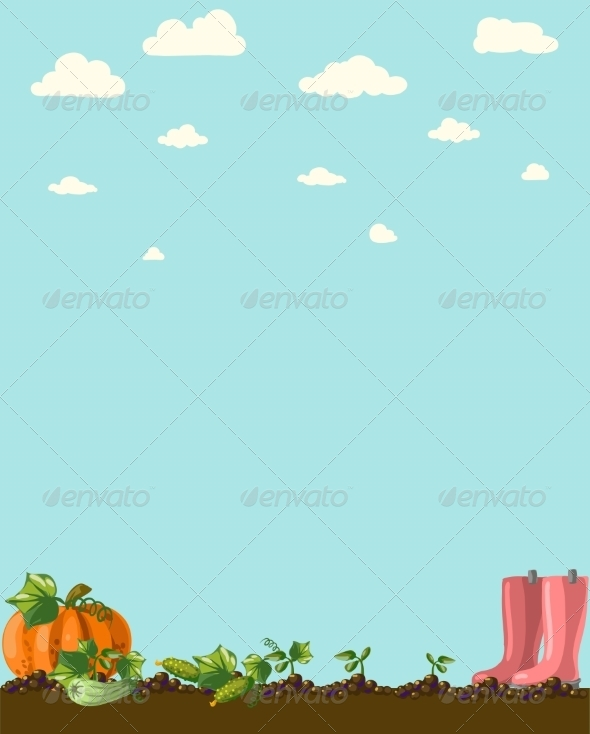GraphicRiver Vintage Garden Banner with Root Veggies 6857964