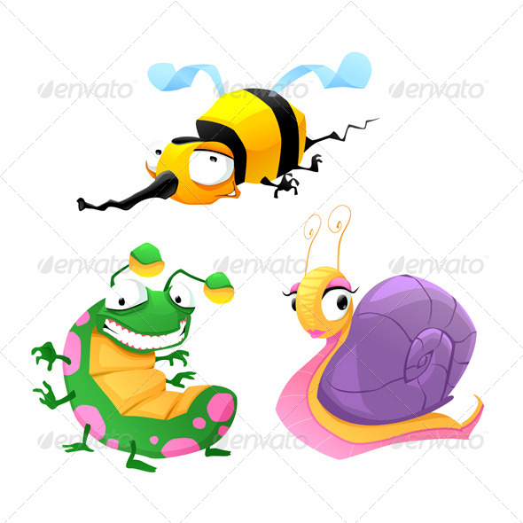 GraphicRiver Two Funny Insects and One Snail 6858002