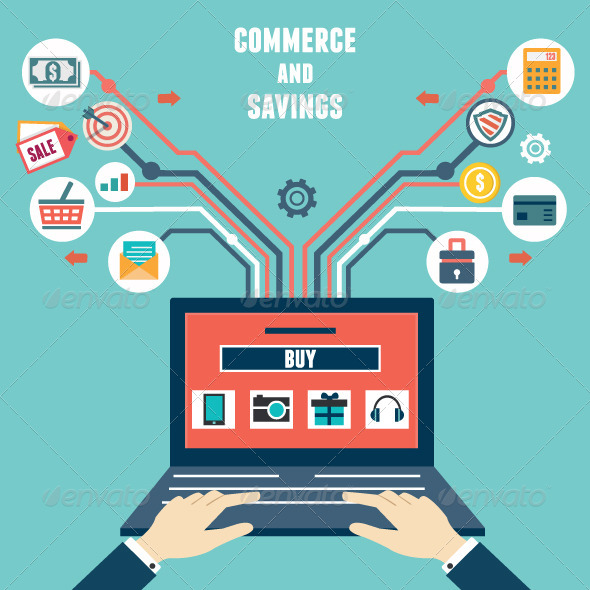 GraphicRiver Vector Flat Concept of Commerce and Savings 6858096