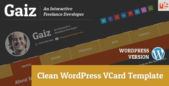 ThemeForest Gaiz Clean Horiozontal Scrolling WordPress Vcard 6601076