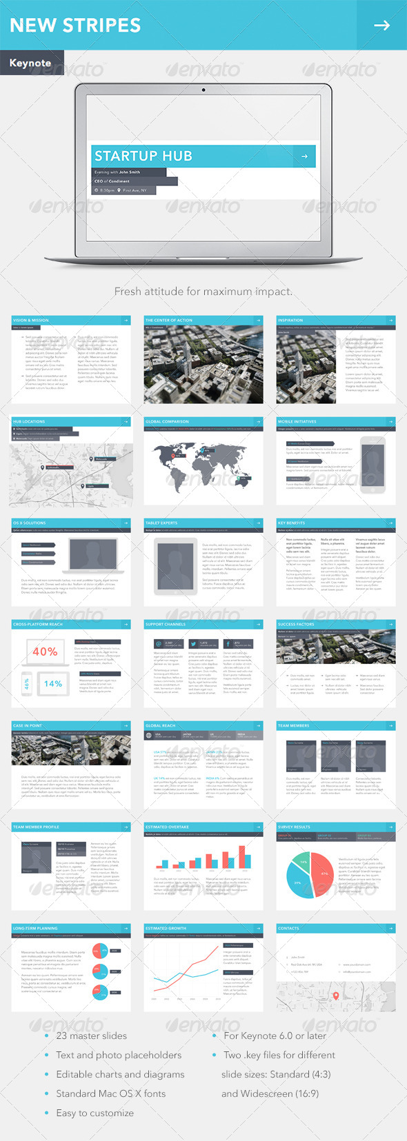 GraphicRiver New Stripes Keynote Template 6856462