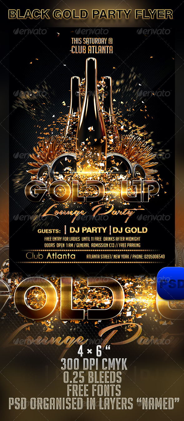 Black Gold Party Flyer Template Graphicriver