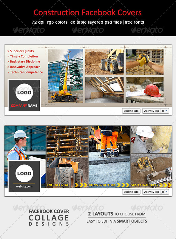 GraphicRiver Construction Facebook Covers 6859046