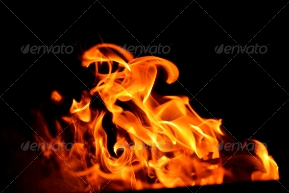 fire flame on black background - Stock Photo - Images