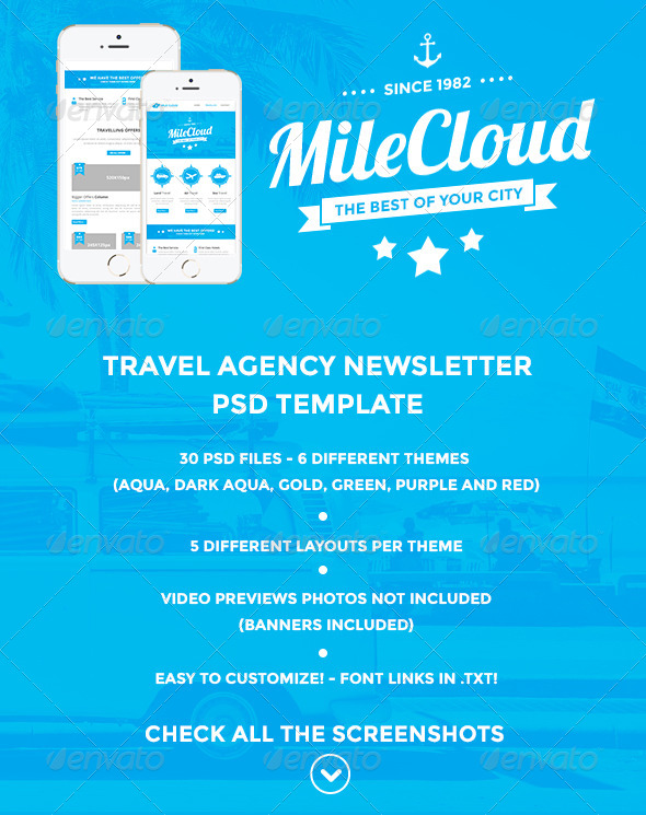 GraphicRiver MileCloud Travel Agency Newsletter PSD Template 6859620