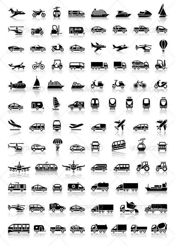 GraphicRiver Bundle Transport 94 Icons with Reflection 6845997