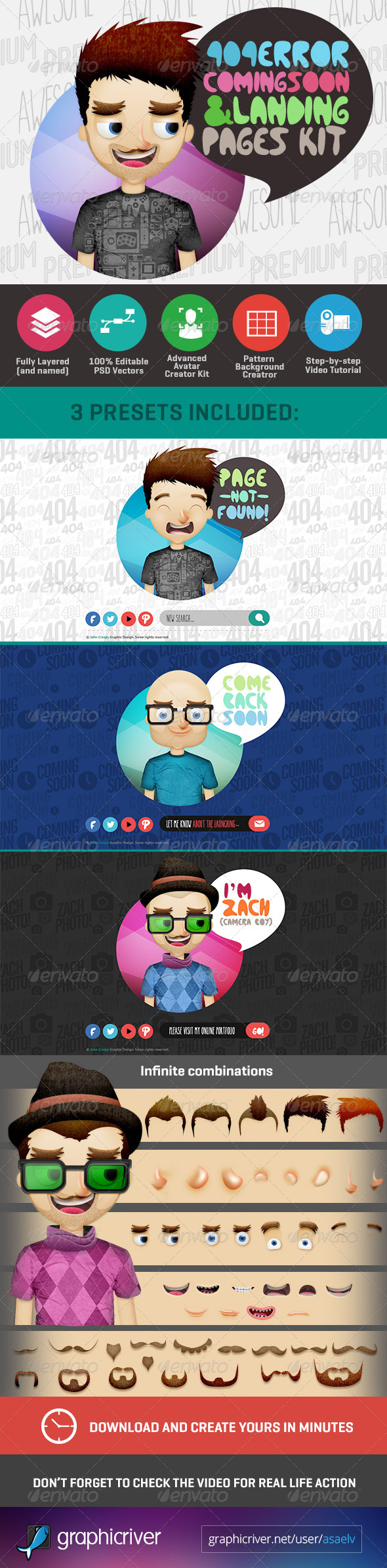 GraphicRiver 404 Page with Avatar Creator Kit 6853253