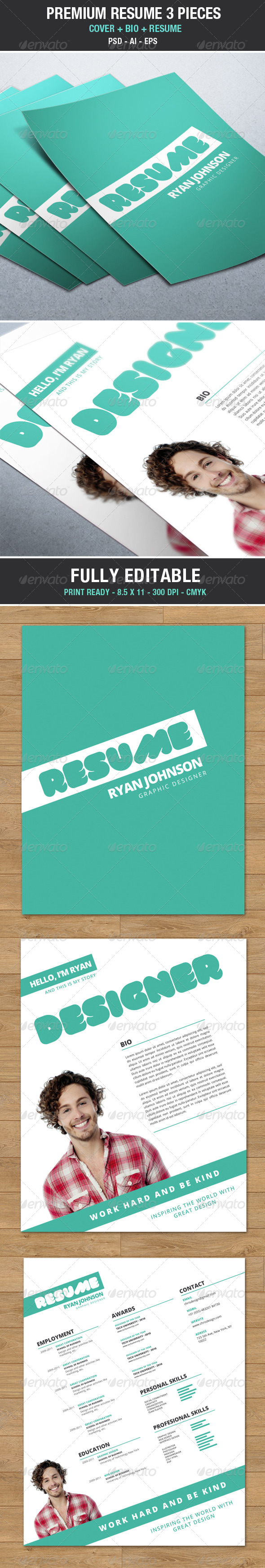 Modern and Trendy Resume / Cv with Cover V2