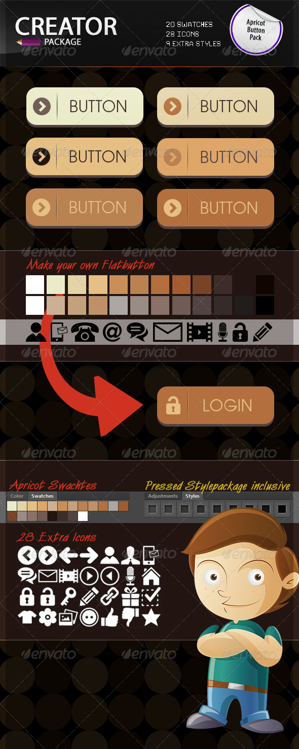 GraphicRiver Apricot Flat Style Button Creation Kit 6860104