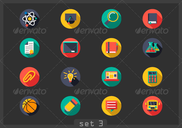 GraphicRiver Flat Icons School 6860240