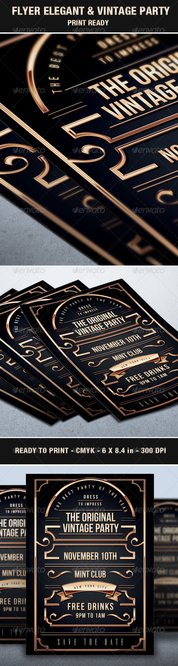 GraphicRiver Flyer Vintage & Exclusive Party Elegant Luxury Vip 6860244