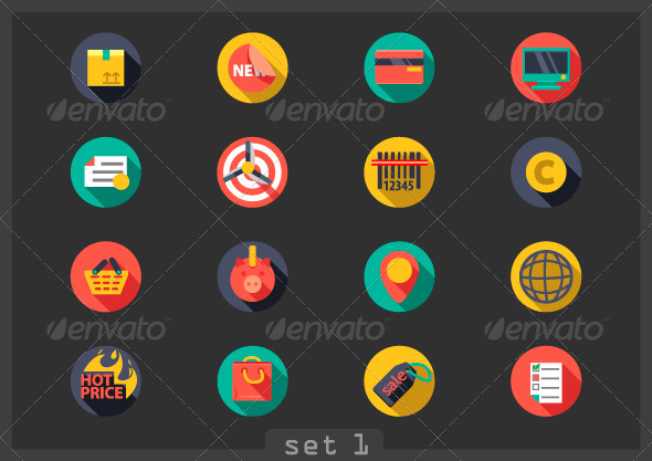 GraphicRiver Flat Icons for Shopping 6853937