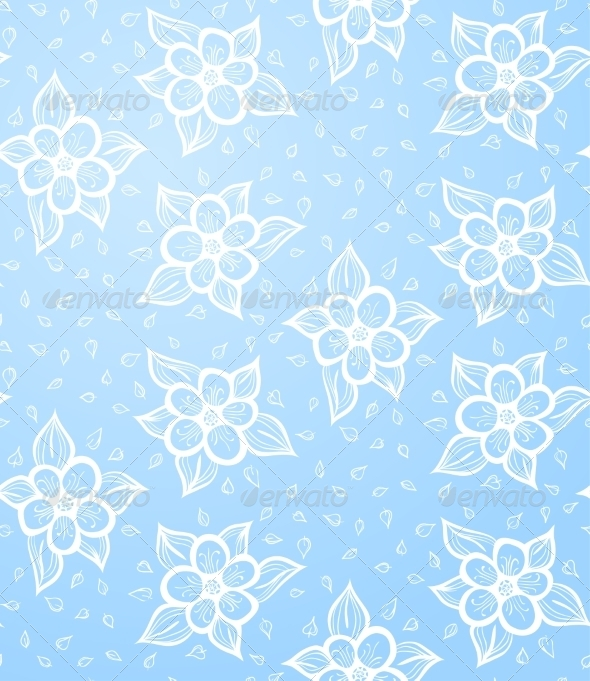 GraphicRiver Seamless Floral Blue Background 6860316
