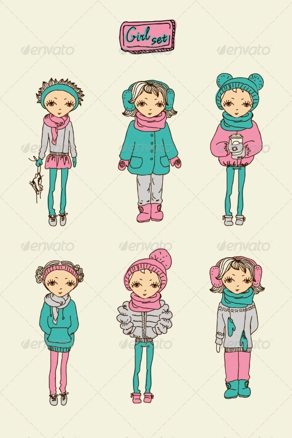 GraphicRiver Set of Girls 6860325