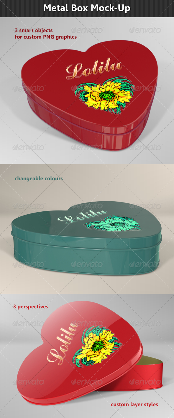 GraphicRiver Heart Metal Box Mock-Up 6860437