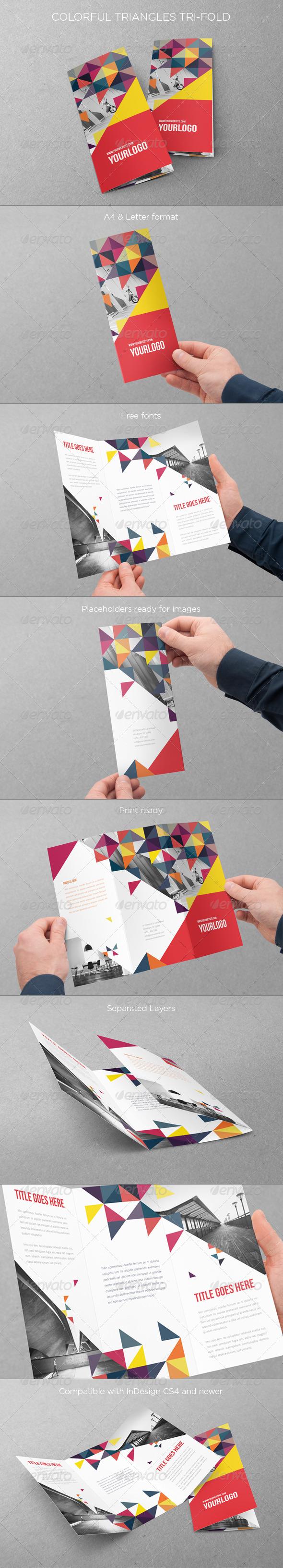 GraphicRiver Colorful Triangles Trifold 6860593