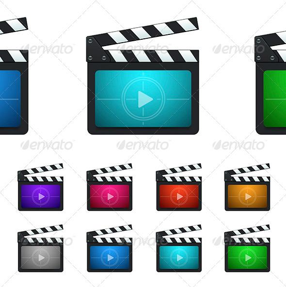 GraphicRiver Vector Movie Production Clapboard Icons 6862384