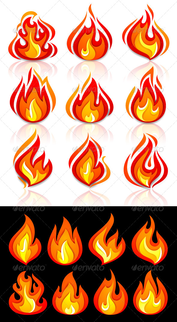 GraphicRiver Fire Flames Set 6862552