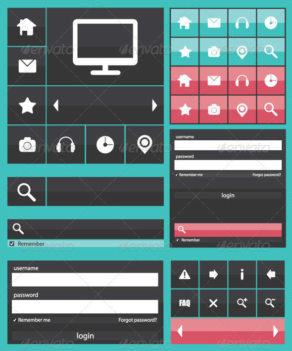 GraphicRiver Flat Web Elements Icons 6862573