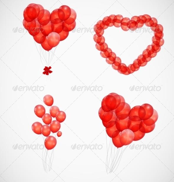 Balloon Heart Illustration Background