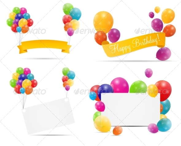 GraphicRiver Color Glossy Balloon Backgrounds 6862673