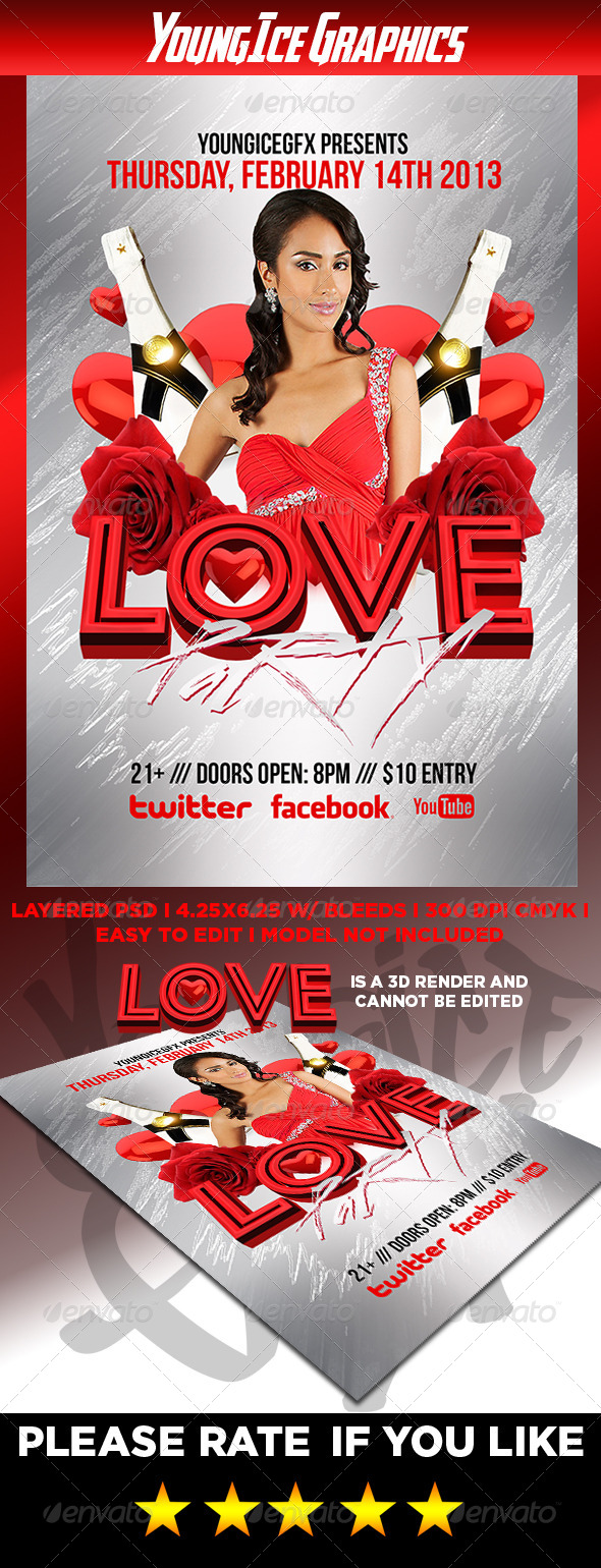 GraphicRiver Love Party Flyer Template 6862725