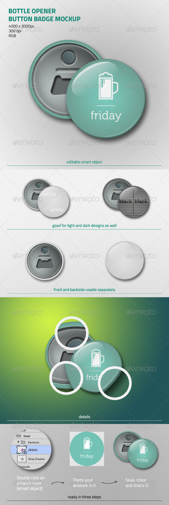 Bottle Opener Button Badge Mockup