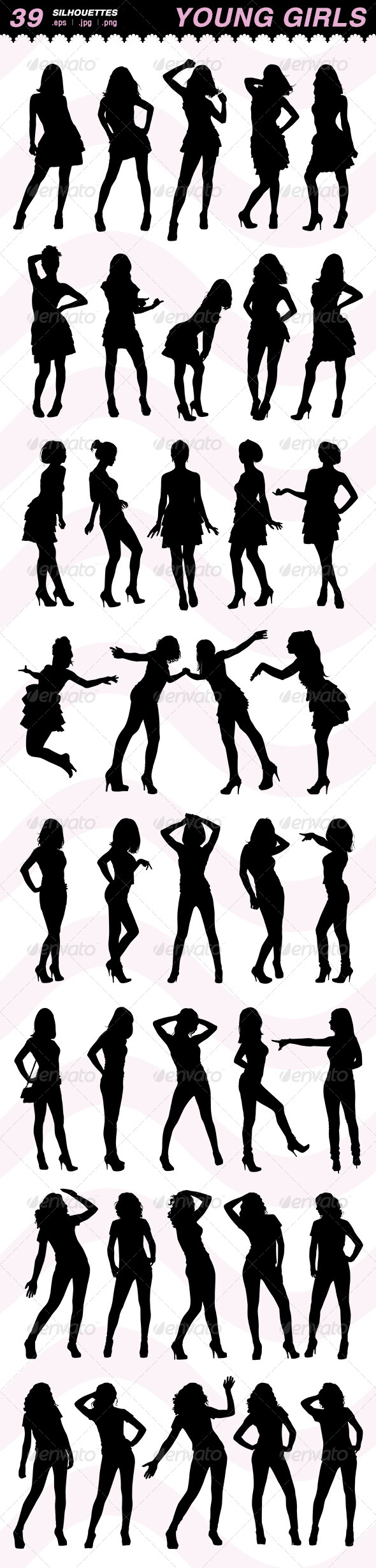 GraphicRiver Silhouettes of Young Girls 6854175