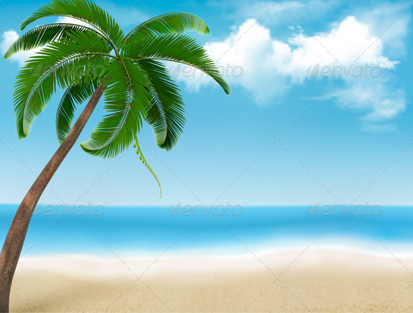 Background with Palm Tree and Blue Sky