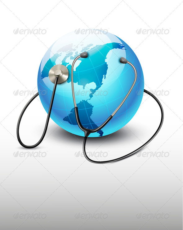 GraphicRiver Stethoscope Against a Globe 6862812