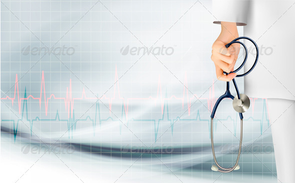 GraphicRiver Medical Background with Hand Holding a Stethoscope 6862814