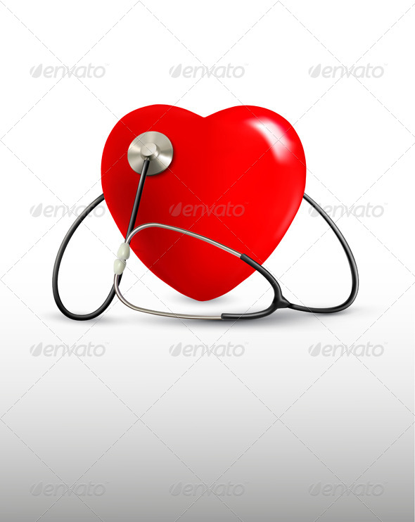 GraphicRiver Background with a Stethoscope and a Heart 6862817