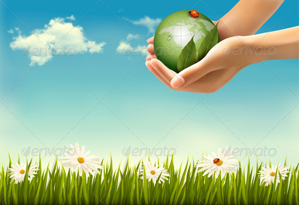 GraphicRiver Nature Background with Hands Holding a Globe 6862944